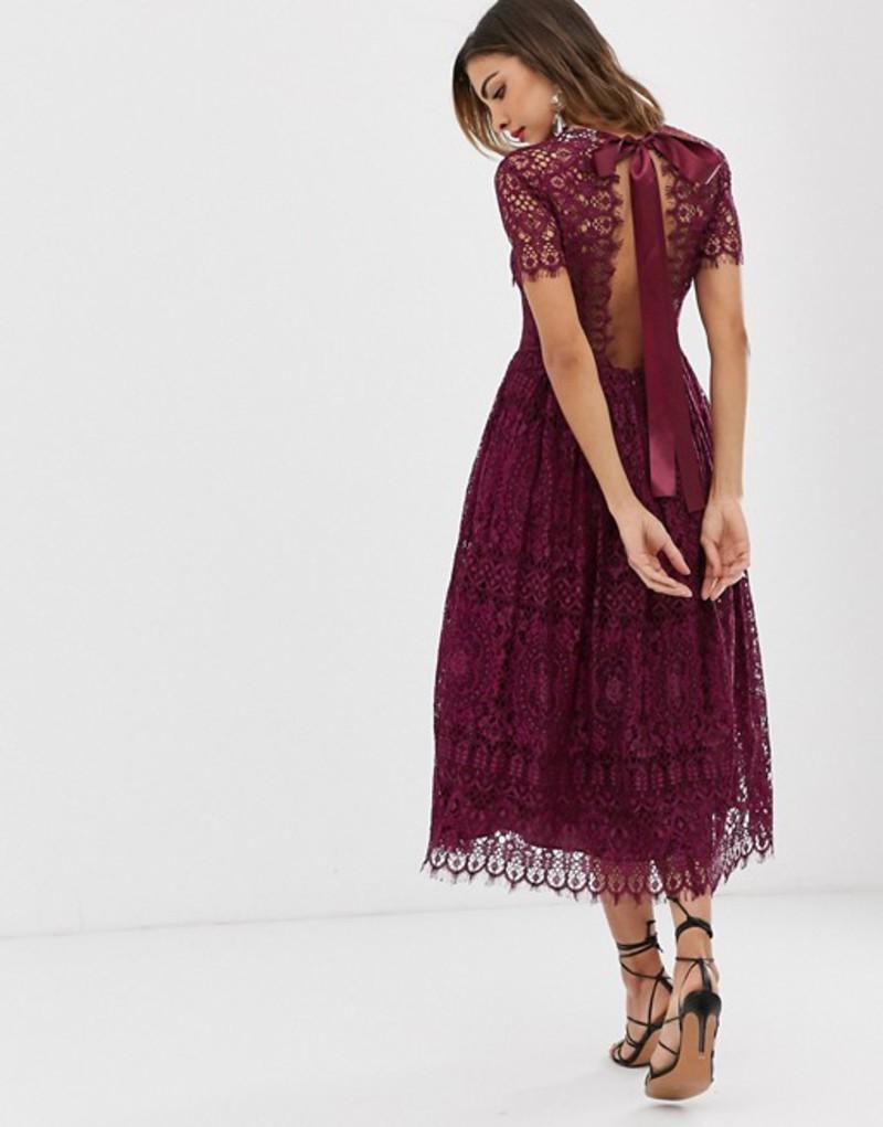 エイソス レディース ワンピース トップス ASOS DESIGN lace midi dress with ribbon tie and open back Deep plum