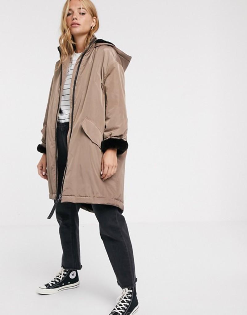 エイソス レディース コート アウター ASOS DESIGN faux fur lined raincoat in mink Mink