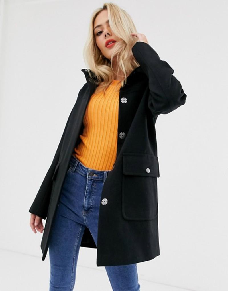 エイソス レディース コート アウター ASOS DESIGN hooded slim coat in black Black