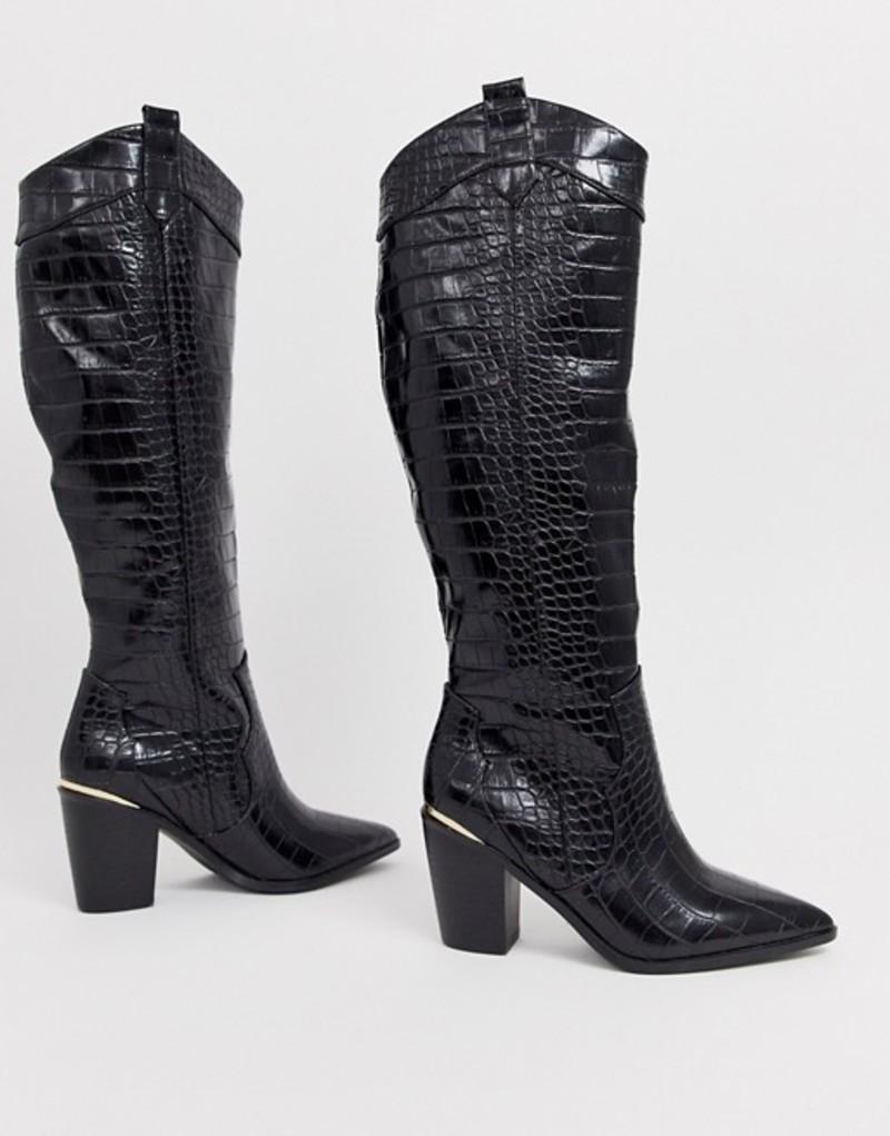エイソス レディース ブーツ・レインブーツ シューズ ASOS DESIGN Catch Up western pull on knee boots in black croc Black croc