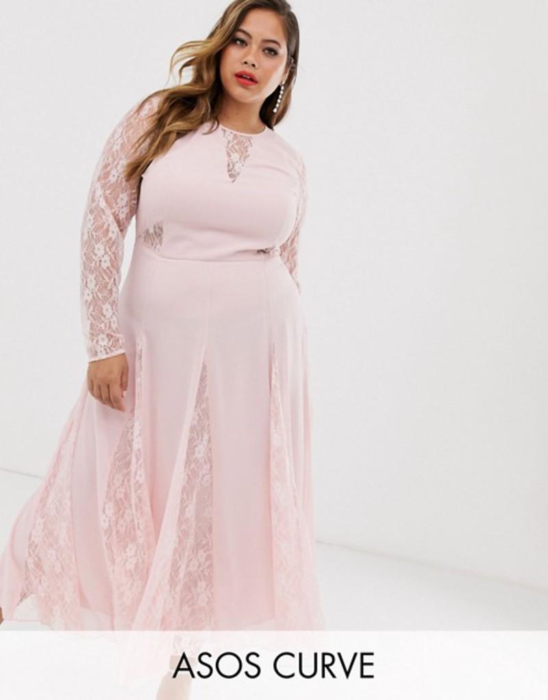 エイソス レディース ワンピース トップス ASOS DESIGN Curve midi dress with long sleeve and lace paneled bodice Soft pink
