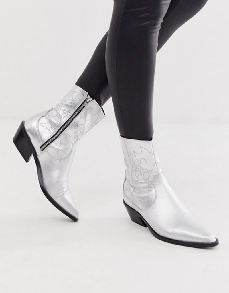 エイソス レディース ブーツ・レインブーツ シューズ ASOS DESIGN Autumnal leather cowboy boots in silver Silver leather