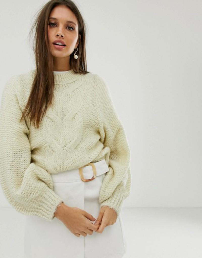 エイソス レディース ニット・セーター アウター ASOS DESIGN cable sweater in lofty yarn with volume sleeve Cream