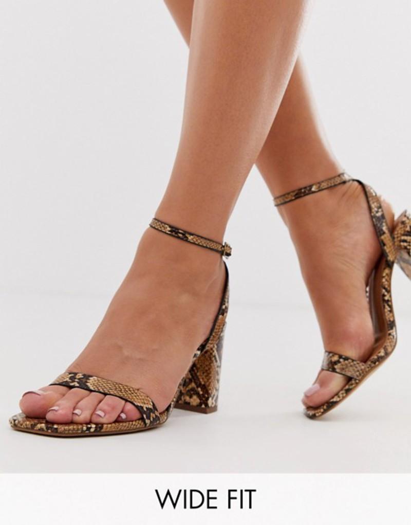 エイソス レディース サンダル シューズ ASOS DESIGN Wide Fit Hong Kong barely there block heeled sandals in snake Tan snake