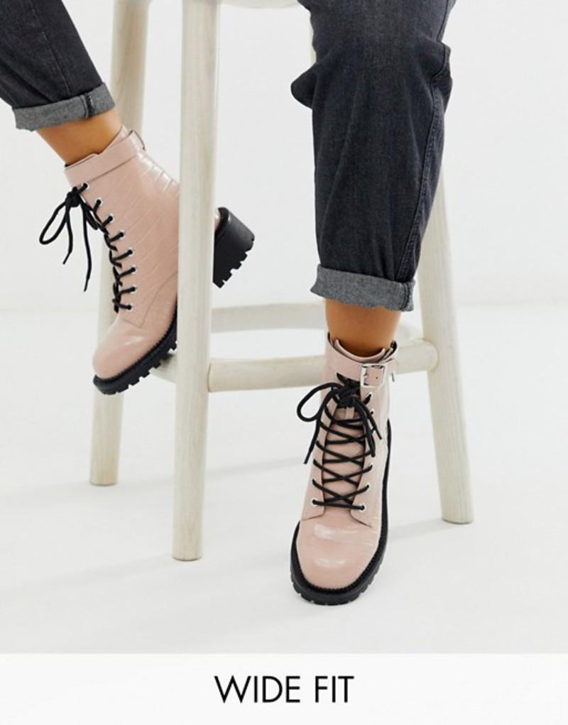 エイソス レディース ブーツ・レインブーツ シューズ ASOS DESIGN Wide Fit Anya hardware lace up boots in pink croc Pink croc