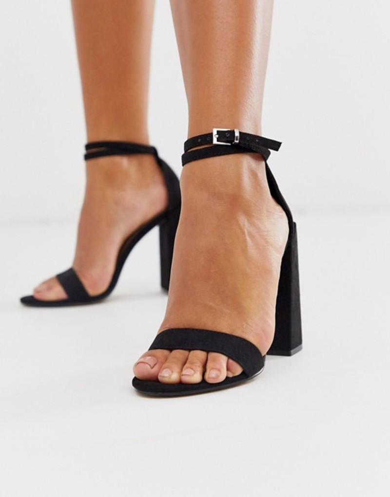 エイソス レディース ヒール シューズ ASOS DESIGN Highlight barely there block heeled sandals in black Black