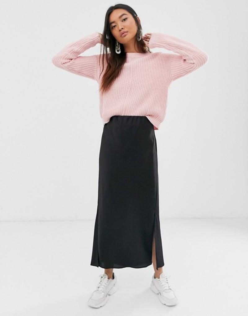 エイソス レディース スカート ボトムス ASOS DESIGN bias cut satin midi skirt with splits Black