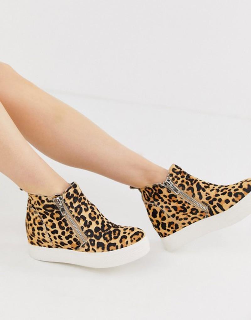 スティーブ マデン レディース スニーカー シューズ Steve Madden Wedgie leopard print side zip hidden wedge sneakers Leopard
