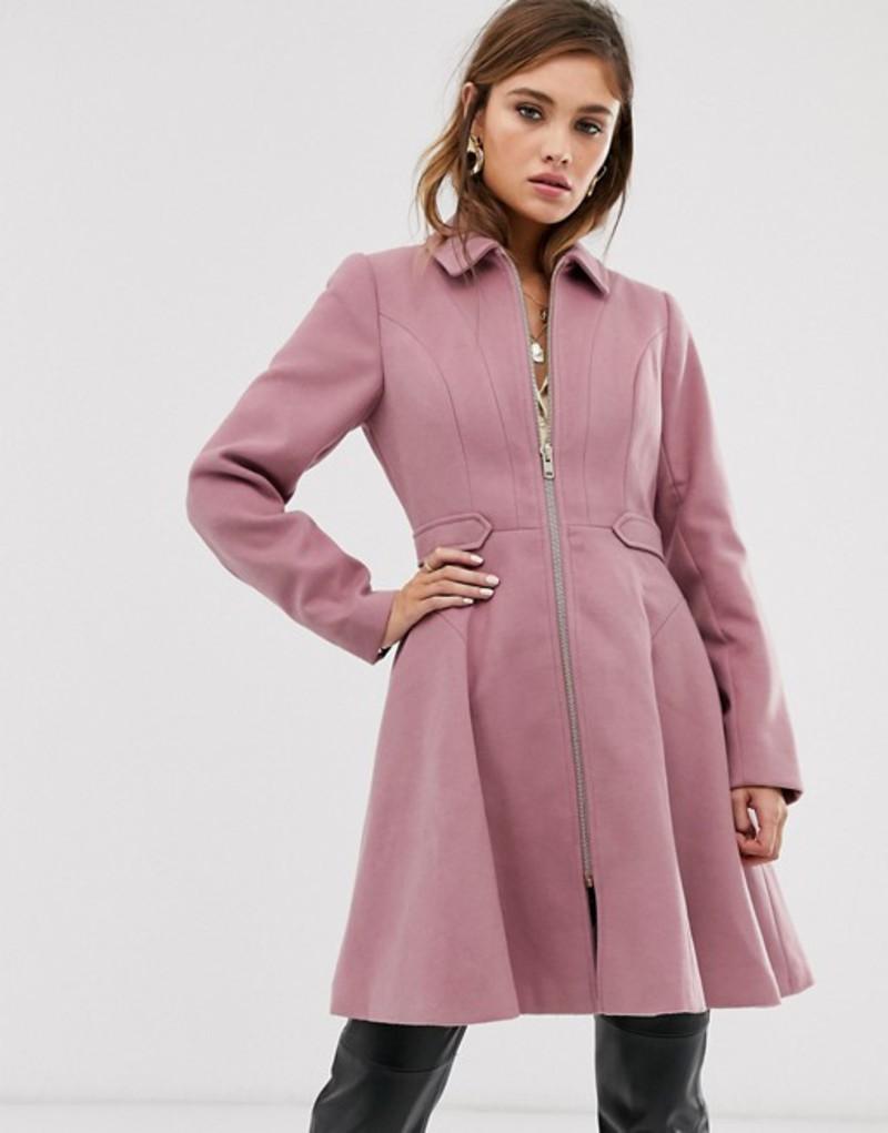 エイソス レディース コート アウター ASOS DESIGN swing coat with zip front Pink