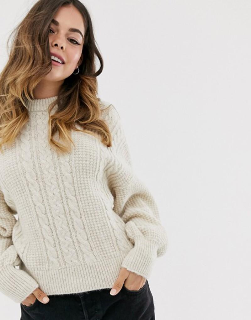 エイソス レディース ニット・セーター アウター ASOS DESIGN cable sweater Cream