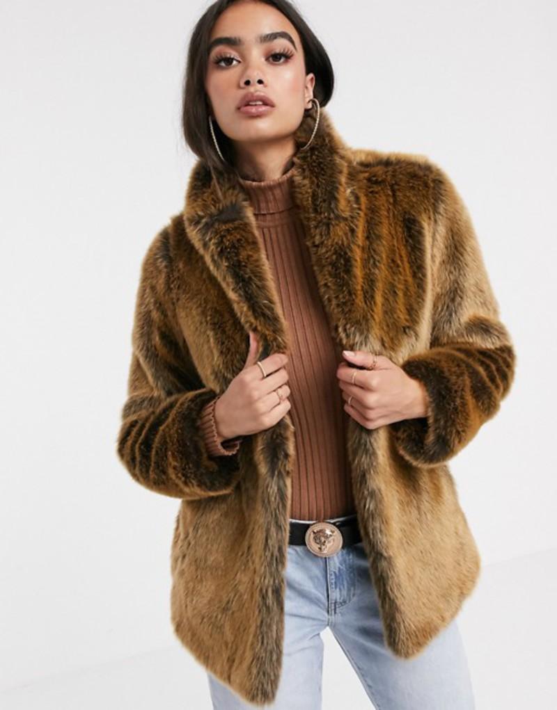 エイソス レディース コート アウター ASOS DESIGN stand collar faux fur coat in brown Brown