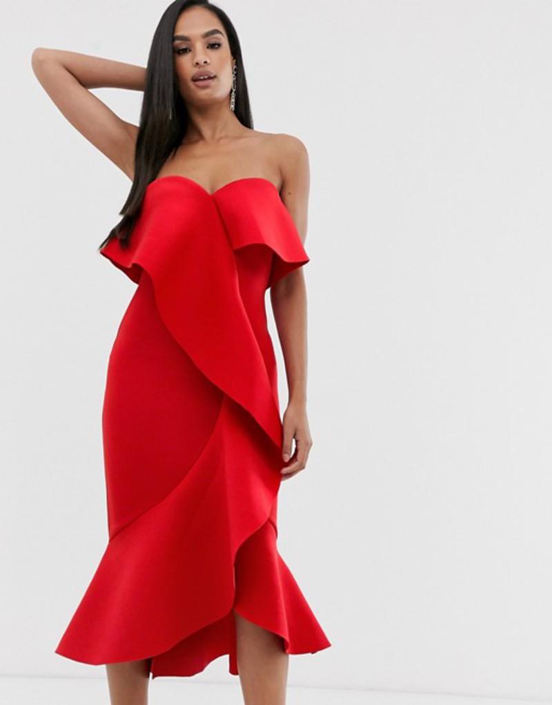 ラビッシュアリス レディース ワンピース トップス Lavish Alice exaggerated frill bandeau scuba midi dress in red Red