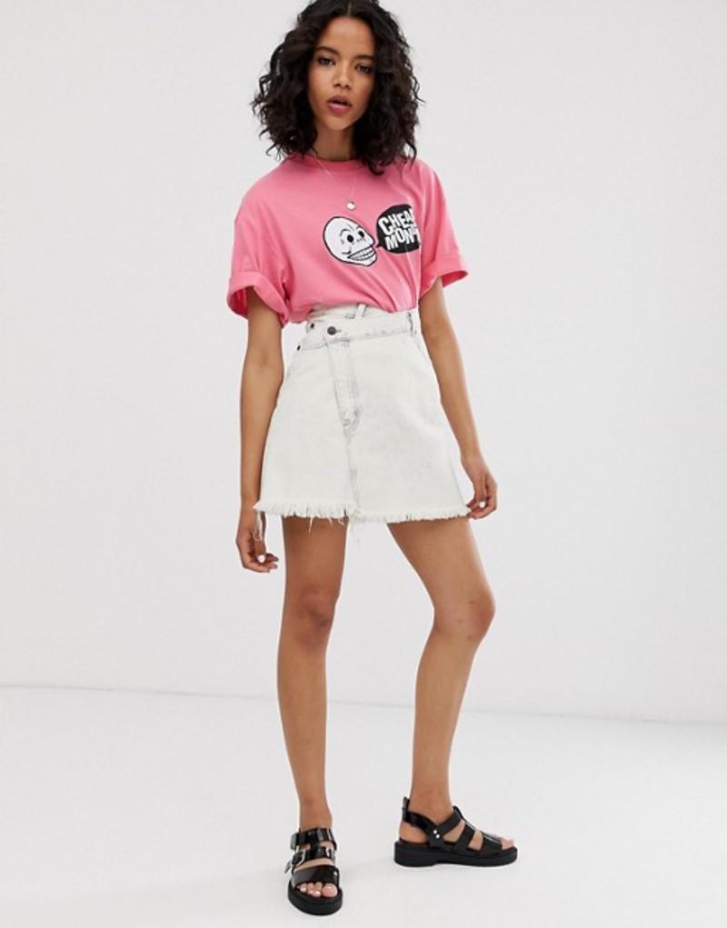 チープマンデー レディース スカート ボトムス Cheap Monday organic cotton denim slant skirt with raw hem Avrge white