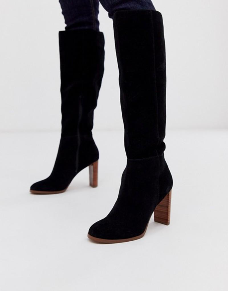 エイソス レディース ブーツ・レインブーツ シューズ ASOS DESIGN Clover suede knee high boots in black Black