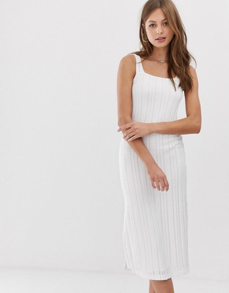 マンゴ レディース ワンピース トップス Mango square neck midi dress in white White