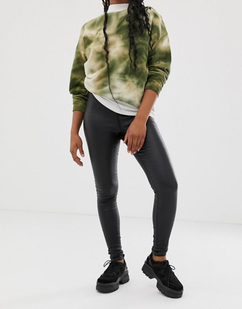 ノイジーメイ レディース デニムパンツ ボトムス Noisy May coated skinny jeans in black Black