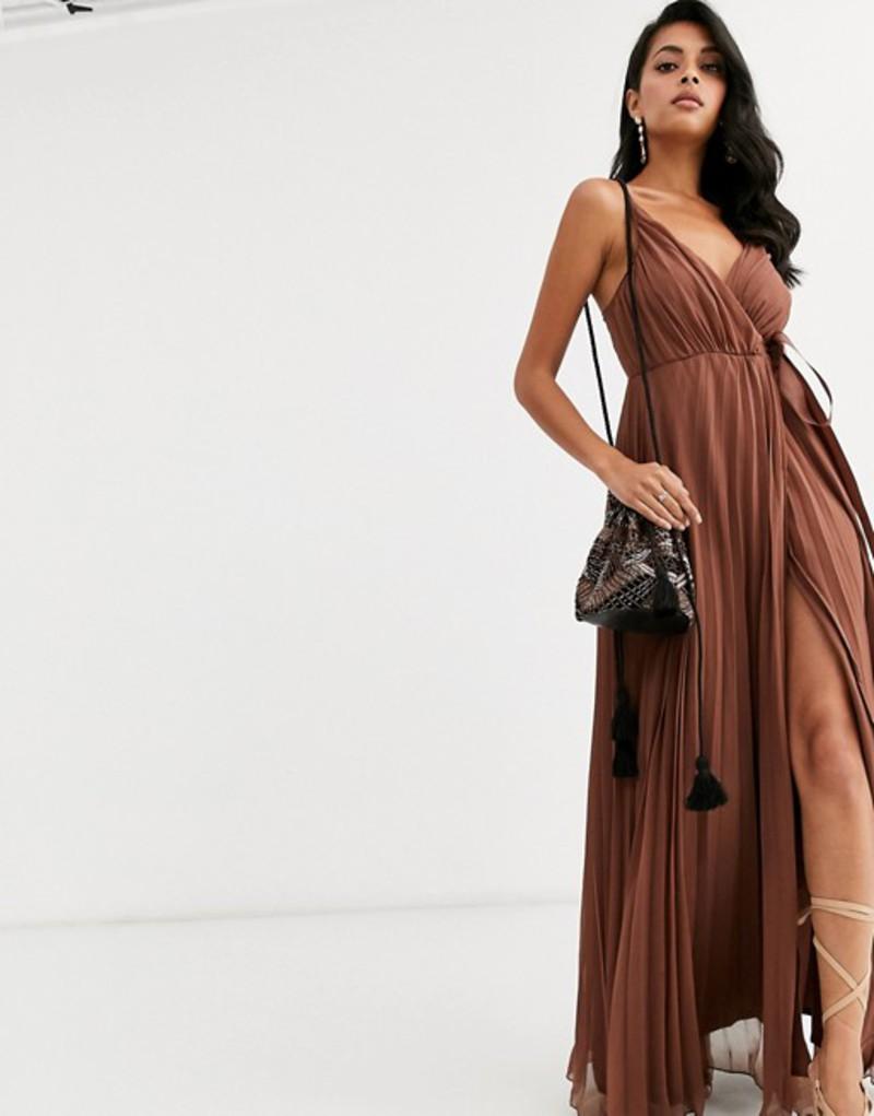 エイソス レディース ワンピース トップス ASOS DESIGN cami pleated maxi dress with grosgrain tie waist Light chocolate