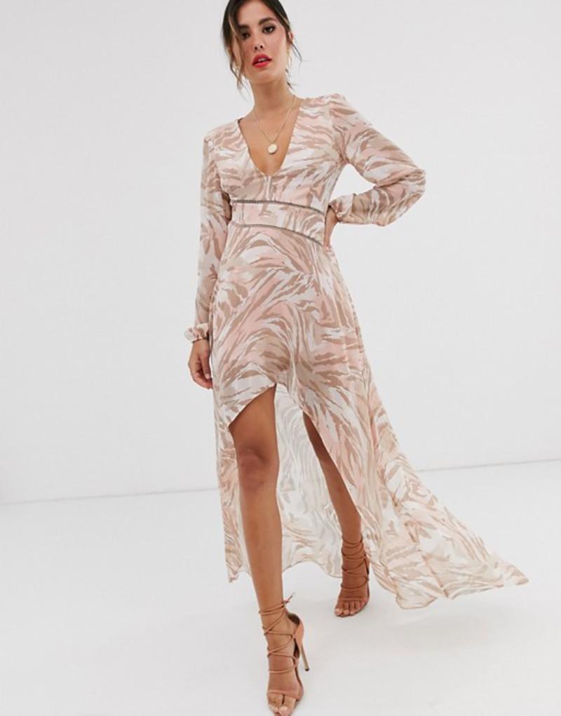 エイソス レディース ワンピース トップス ASOS DESIGN midi dress with lace trims in soft animal print Blush