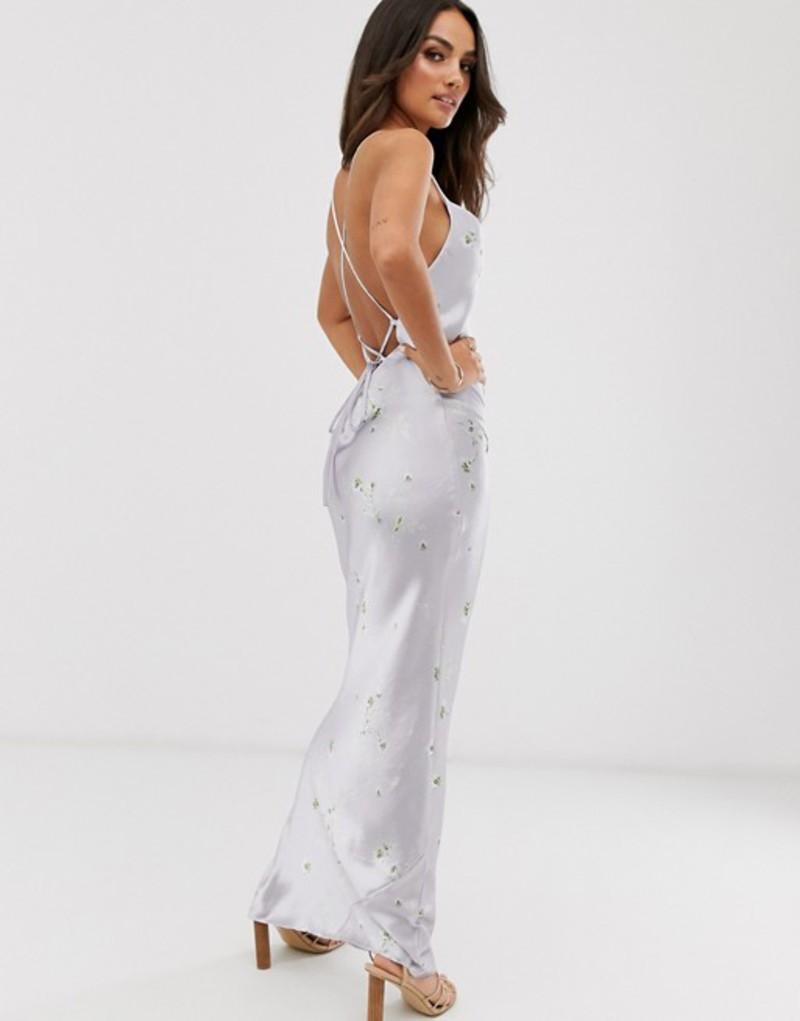エイソス レディース ワンピース トップス ASOS DESIGN satin slip maxi dress in high shine ditsy floral print with lace up back Silver floral