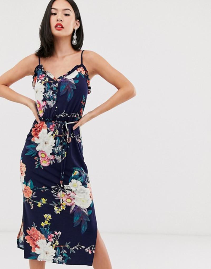 オアシス レディース ワンピース トップス Oasis floral print midi dress in navy Multi