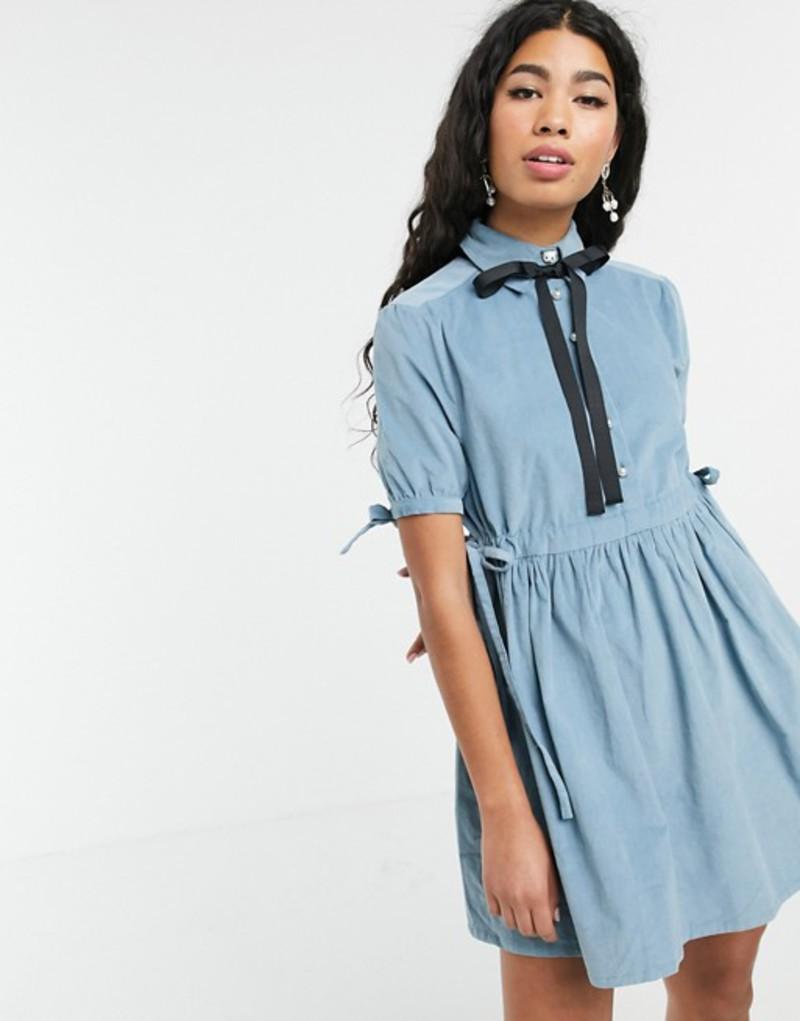 シスタージュン レディース ワンピース トップス Sister Jane mini smock dress with tie sides and pussybow in baby cord Blue