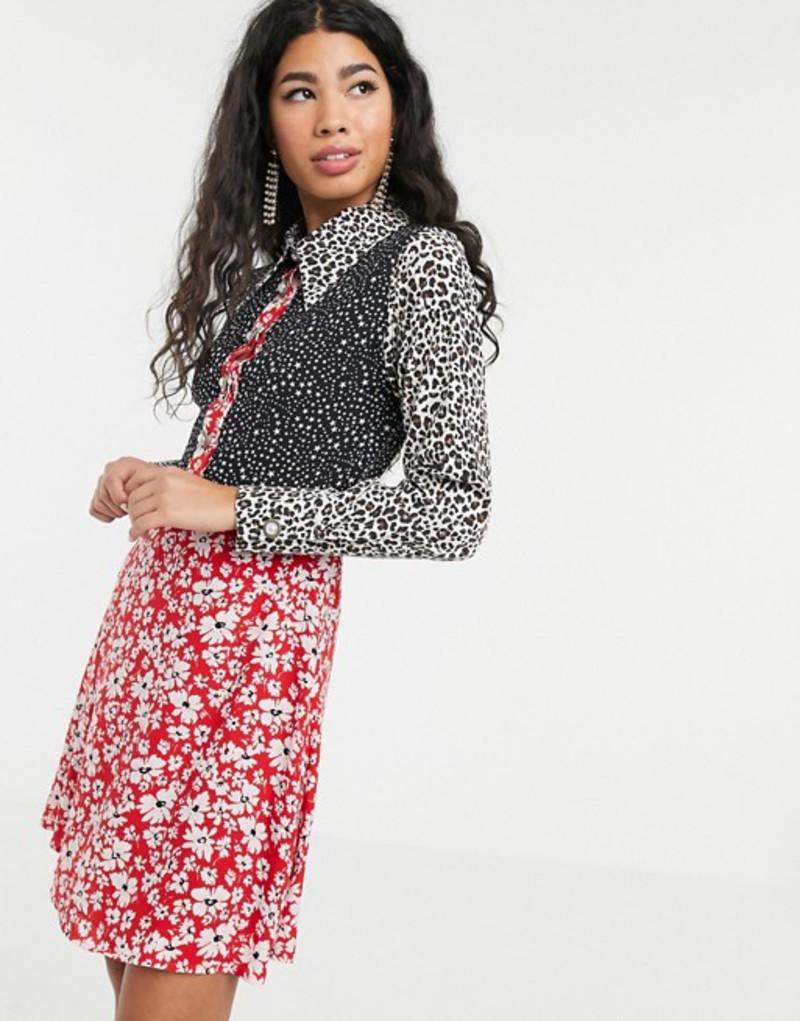 シスタージュン レディース ワンピース トップス Sister Jane mini skater dress with faux pearl buttons in animal floral mixed print Red mixed print