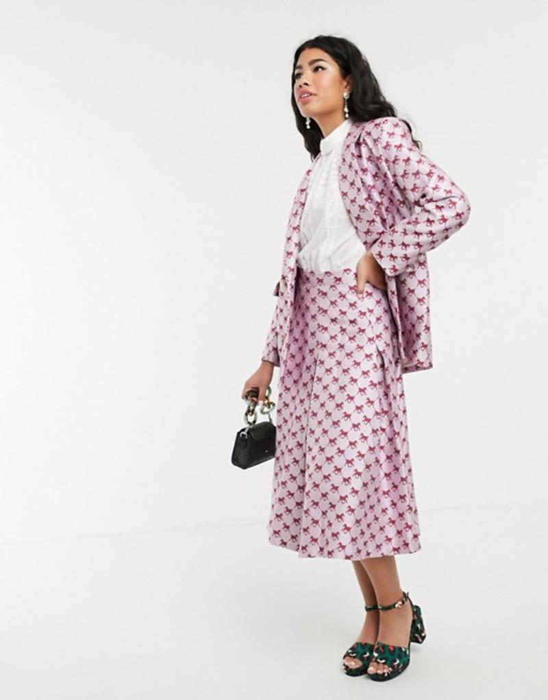 シスタージュン レディース スカート ボトムス Sister Jane pleated midi skirt in horse monogram jacquard two-piece Pink