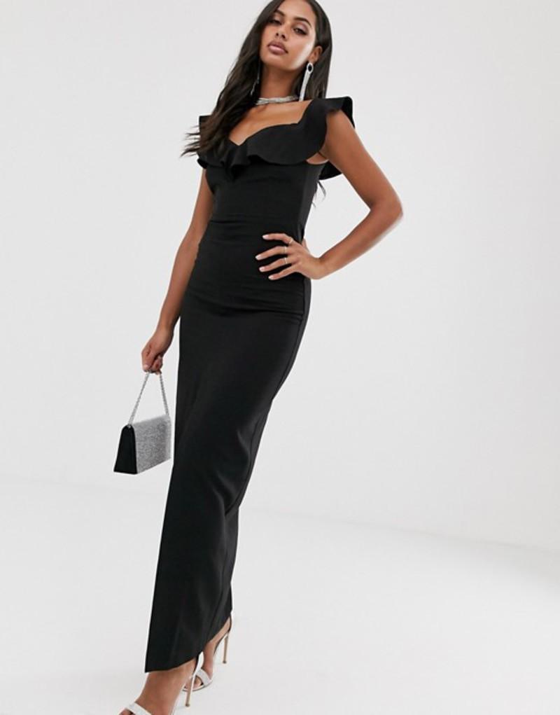 ベスパー レディース ワンピース トップス Vesper bardot maxi dress with frill in black Black