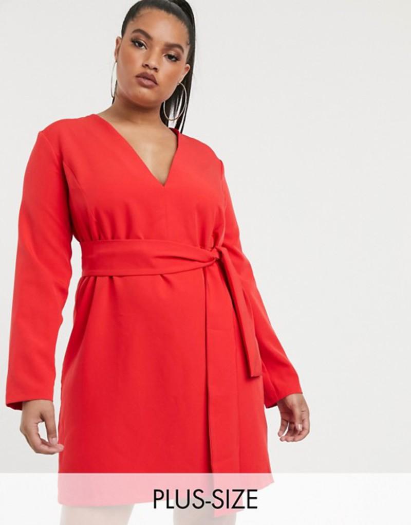 ベスパー レディース ワンピース トップス Vesper Curve tailored tux dress with tie front in red Red