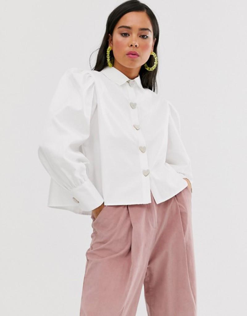シスタージュン レディース シャツ トップス Sister Jane shirt with volume sleeves and faux pearl heart buttons Ivory