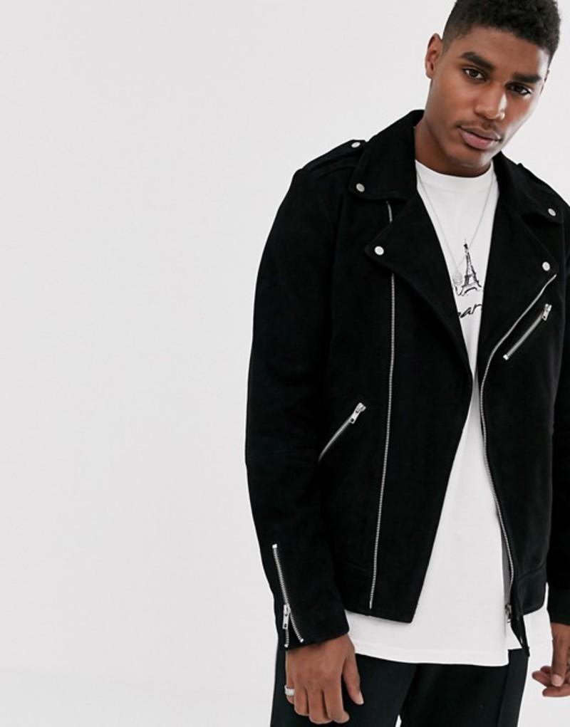 エイソス メンズ ジャケット・ブルゾン アウター ASOS DESIGN suede biker jacket in black Black
