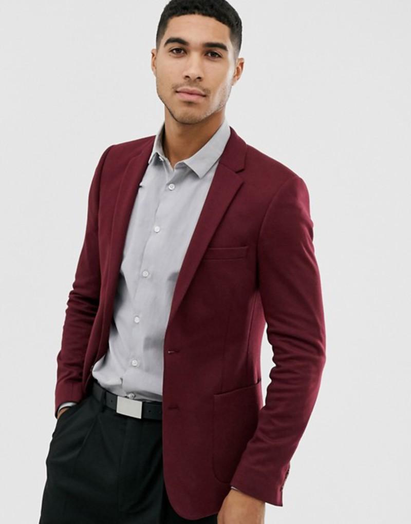 エイソス メンズ ジャケット・ブルゾン アウター ASOS DESIGN super skinny jersey blazer in burgundy Burgundy