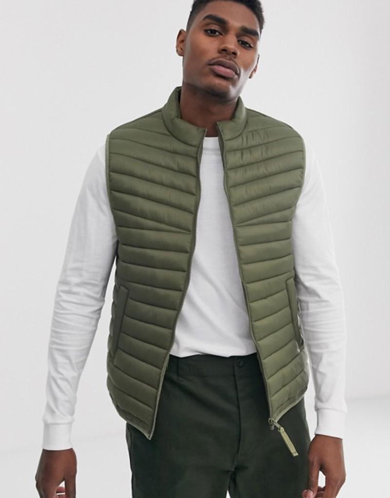 エイソス メンズ タンクトップ トップス ASOS DESIGN vest with stand collar in khaki Khaki