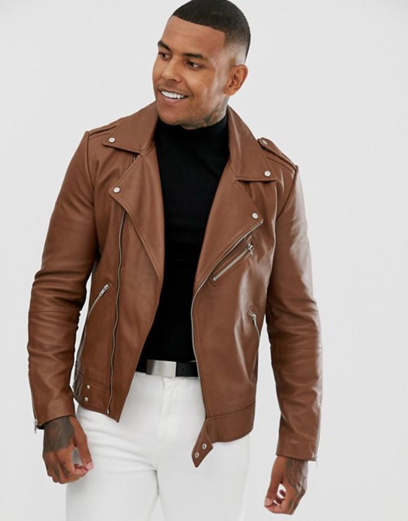 エイソス メンズ ジャケット・ブルゾン アウター ASOS DESIGN leather biker jacket in tan Tan