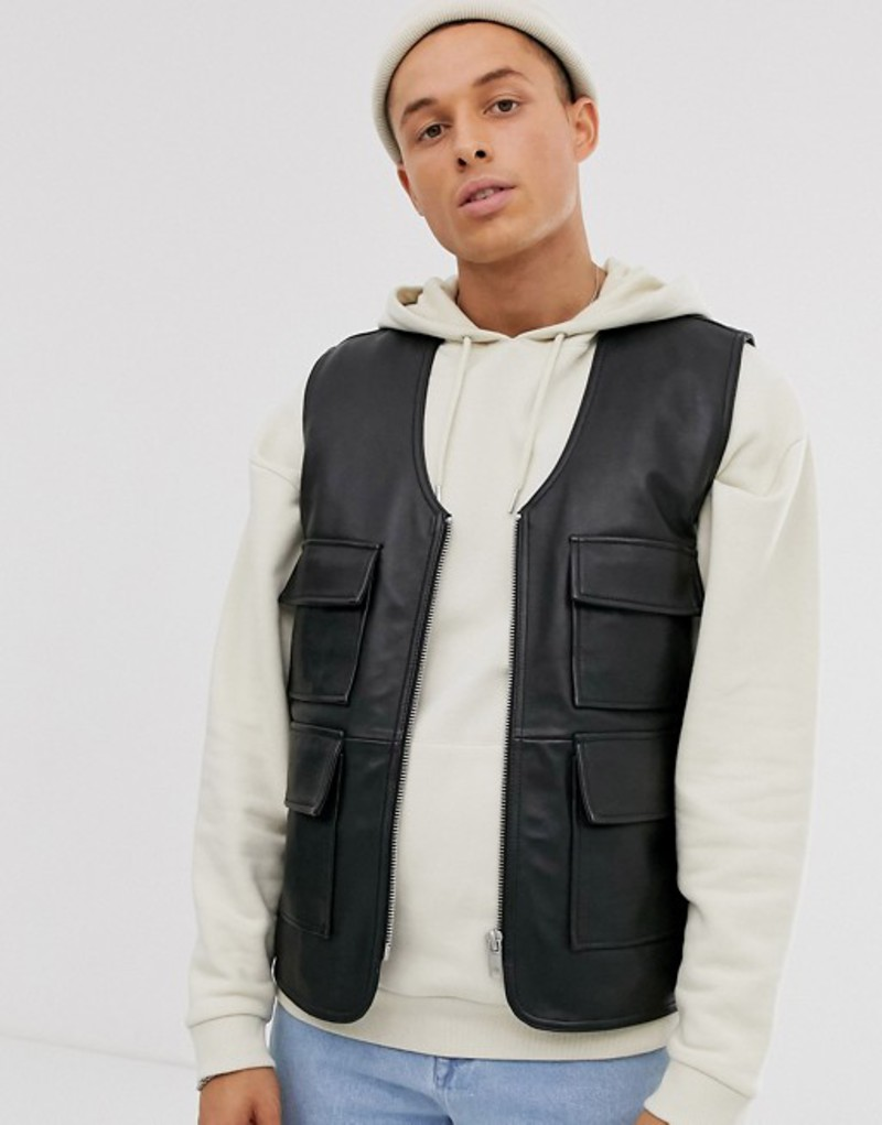 エイソス メンズ タンクトップ トップス ASOS DESIGN leather vest in black Black