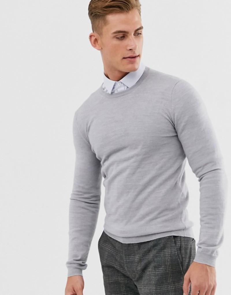 エイソス メンズ ニット・セーター アウター ASOS DESIGN muscle fit merino wool sweater in light gray marl Light grey