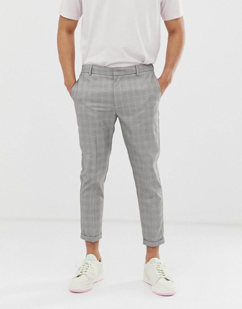 ニュールック メンズ カジュアルパンツ ボトムス New Look smart pants in light gray check Light grey