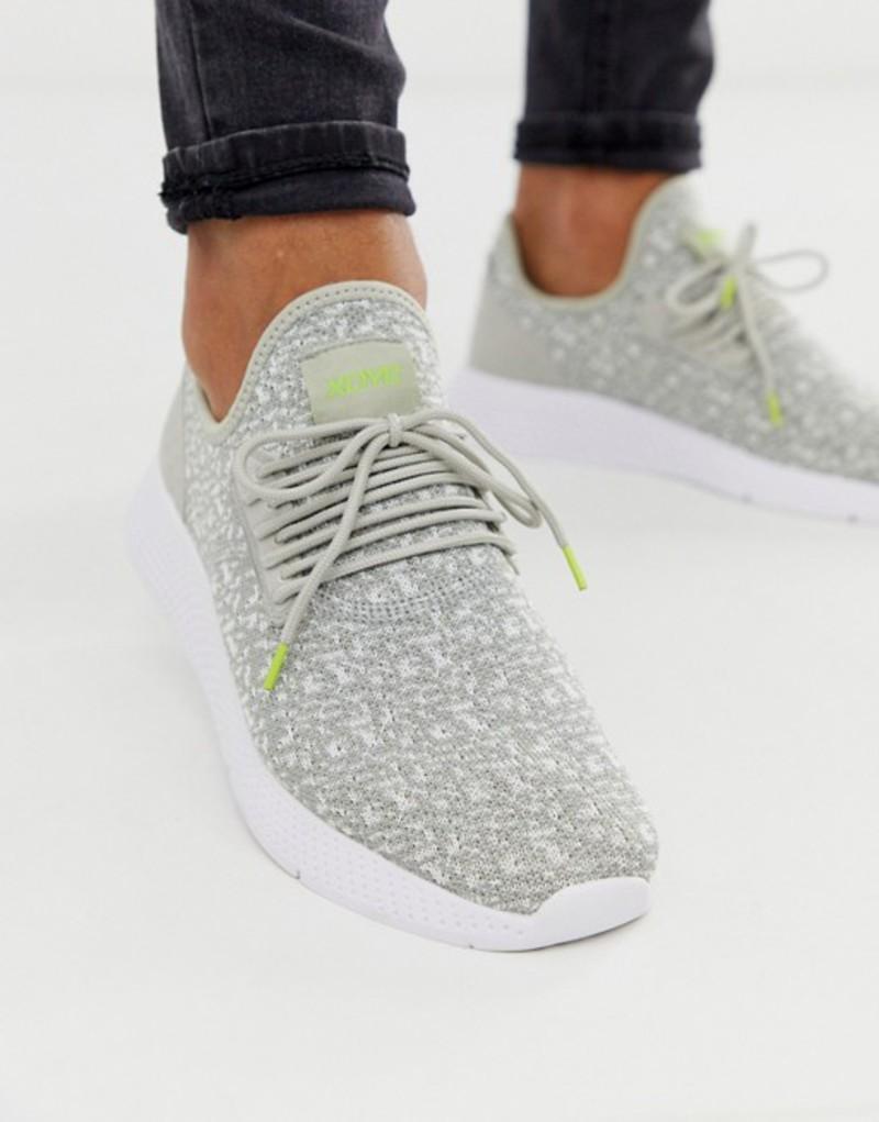 プルアンドベアー メンズ スニーカー シューズ Pull&Bear mesh sneaker with contrast sole in gray Grey
