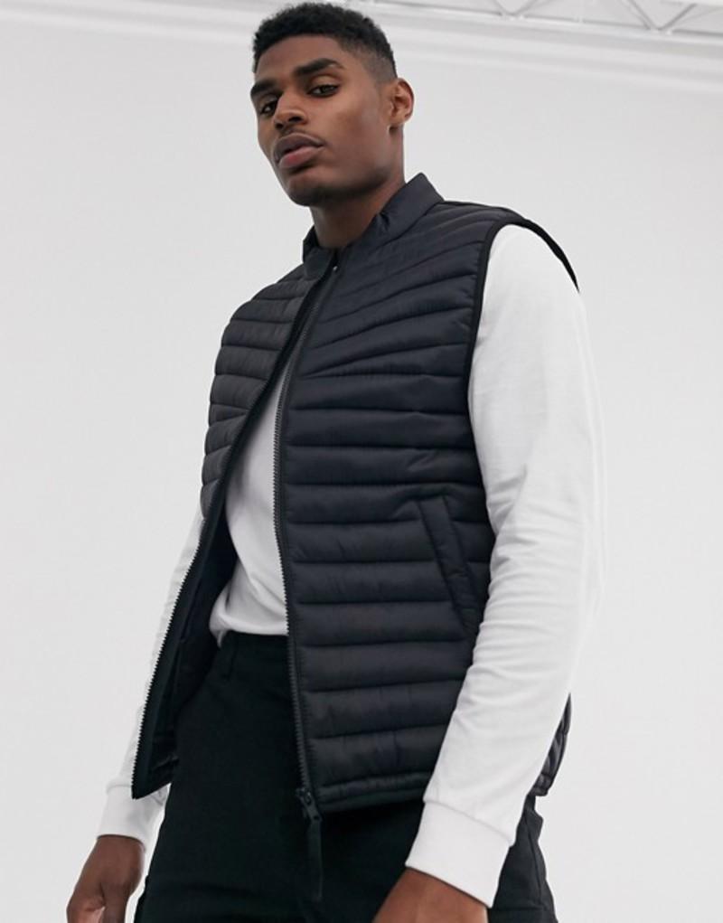 エイソス メンズ タンクトップ トップス ASOS DESIGN vest with stand collar in black Black