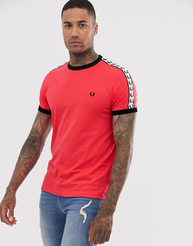 フレッドペリー メンズ Tシャツ トップス Fred Perry Sport graphic taped ringer t-shirt in red Red