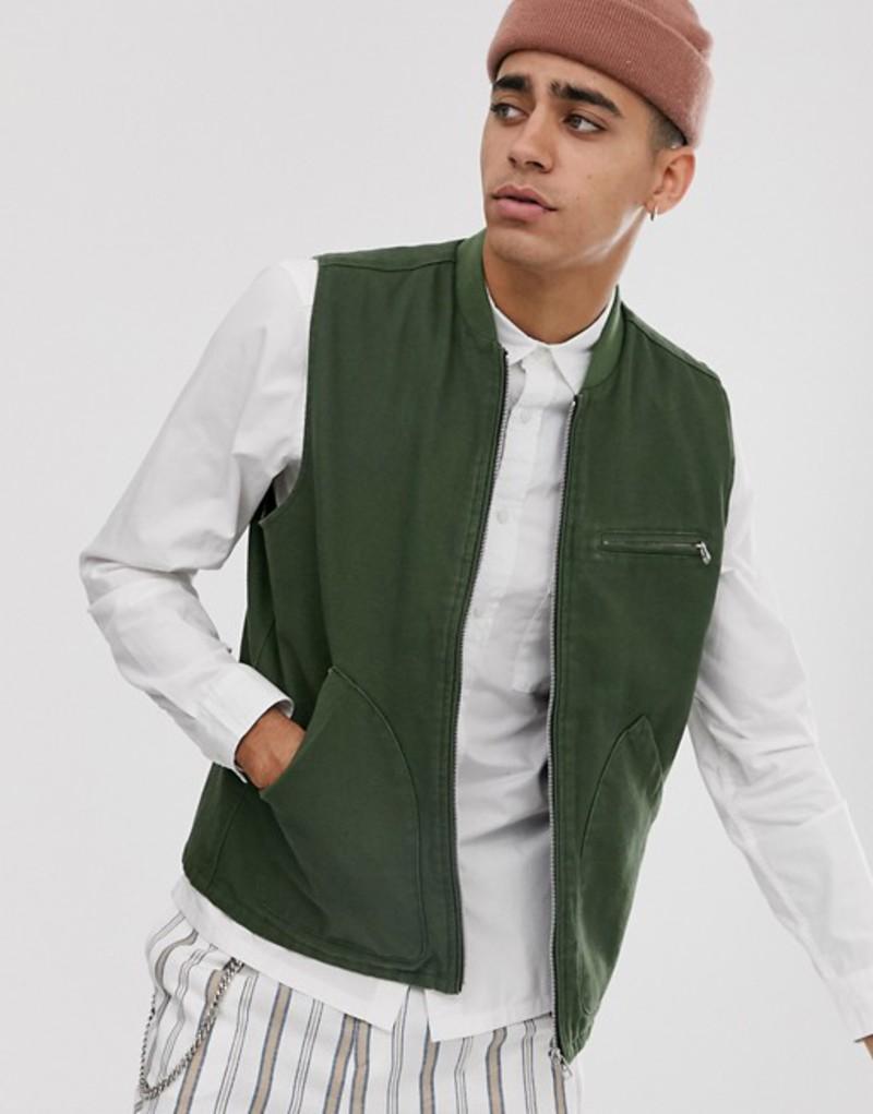 エイソス メンズ タンクトップ トップス ASOS DESIGN canvas vest in khaki Khaki