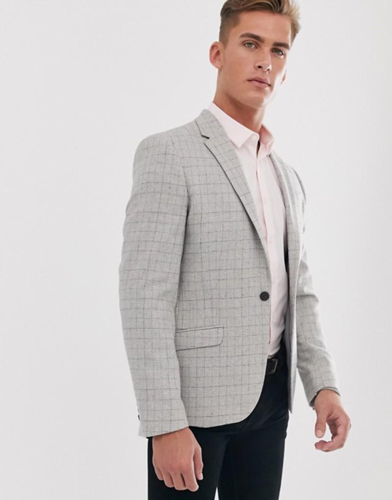 リバーアイランド メンズ ジャケット・ブルゾン アウター River Island blazer in gray check Grey