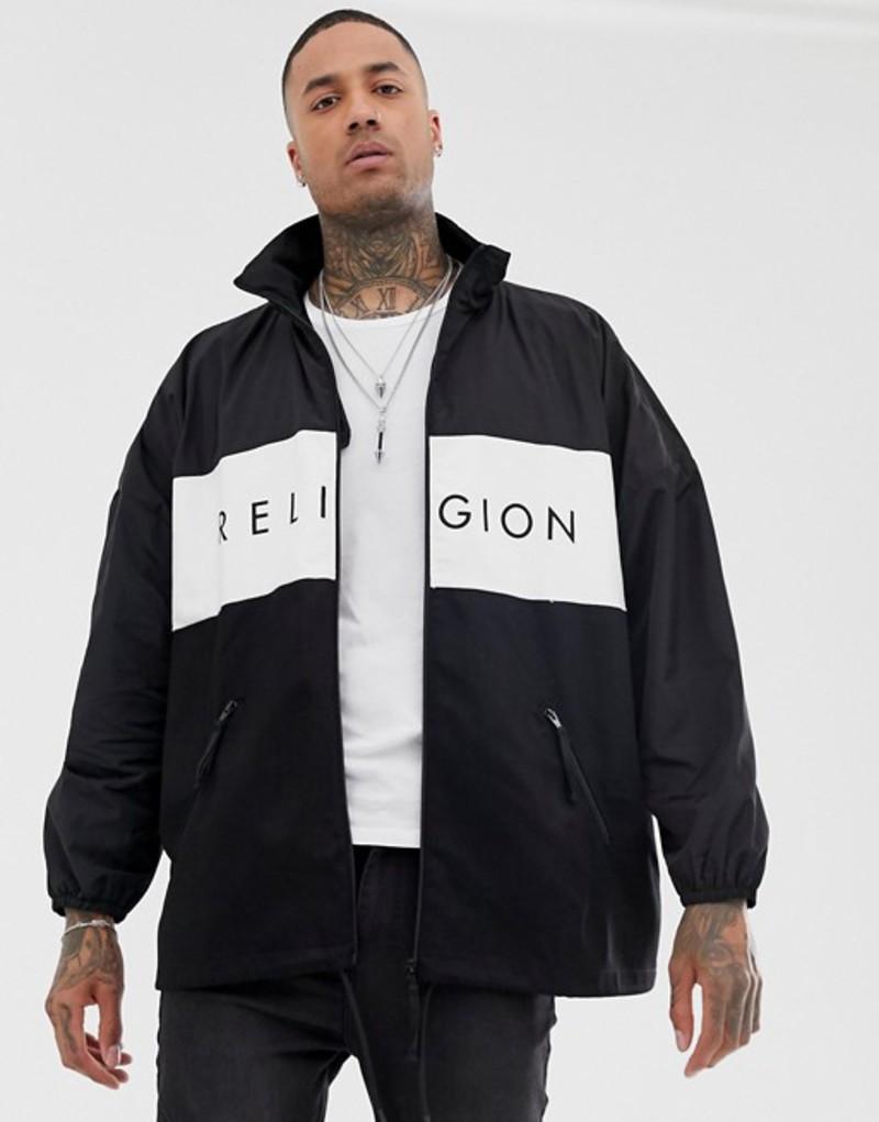 レリジョン メンズ ジャケット・ブルゾン アウター Religion oversized jacket with funnel neck in black Black/white