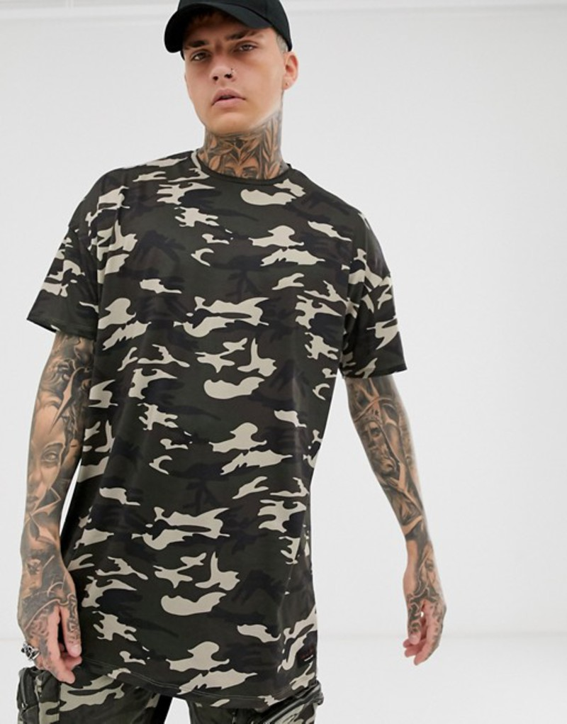 リキュールアンドポーカー メンズ Tシャツ トップス Liquor N Poker oversized t-shirt in camo Khaki