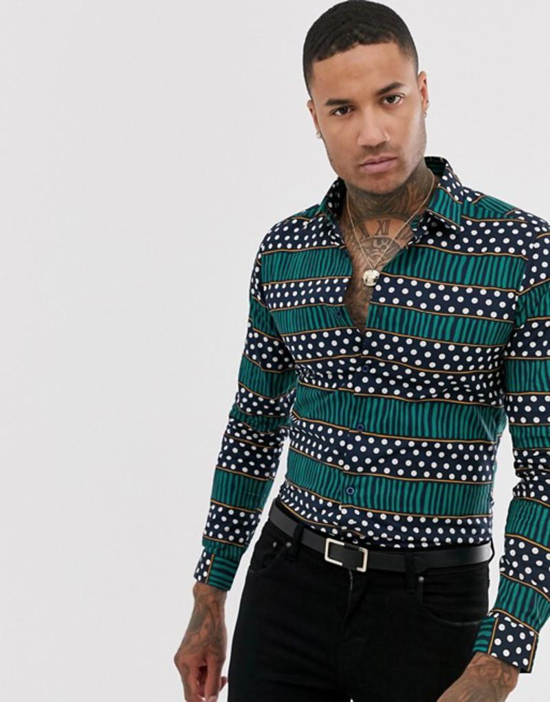 デビルズ アドボケート メンズ シャツ トップス Devils Adovcate dotted stripe print slim fit shirt Navy