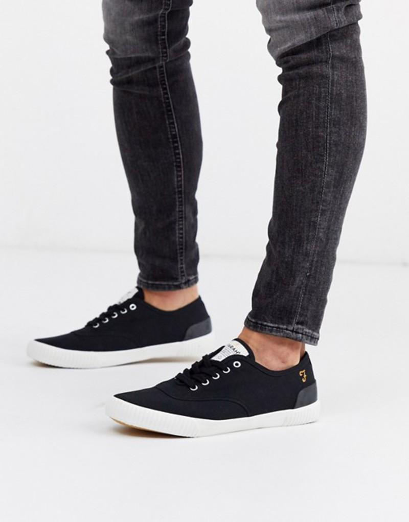 ファーラー メンズ スニーカー シューズ Farah cupsole sneakers in black Black