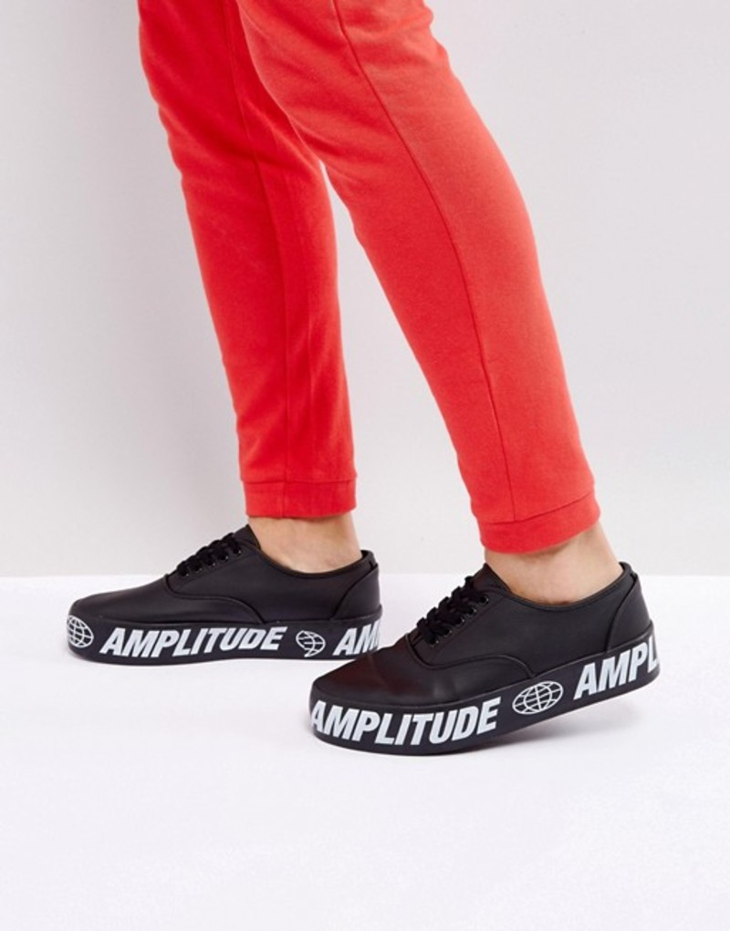 エイソス メンズ スニーカー シューズ ASOS Lace Up Sneakers In Black With Chunky Text Sole Black