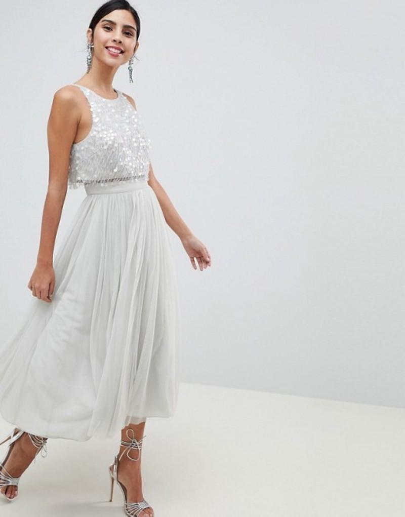 エイソス レディース ワンピース トップス ASOS DESIGN Tulle Prom Midi Dress With Delicate Embellished Droplets Ice grey