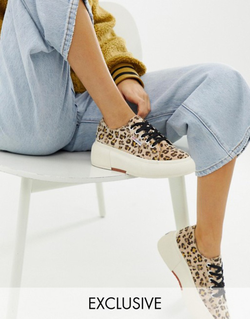 スペルガ レディース スニーカー シューズ Superga 2287 exclusive leopard faux pony wedge sneakers Leopard