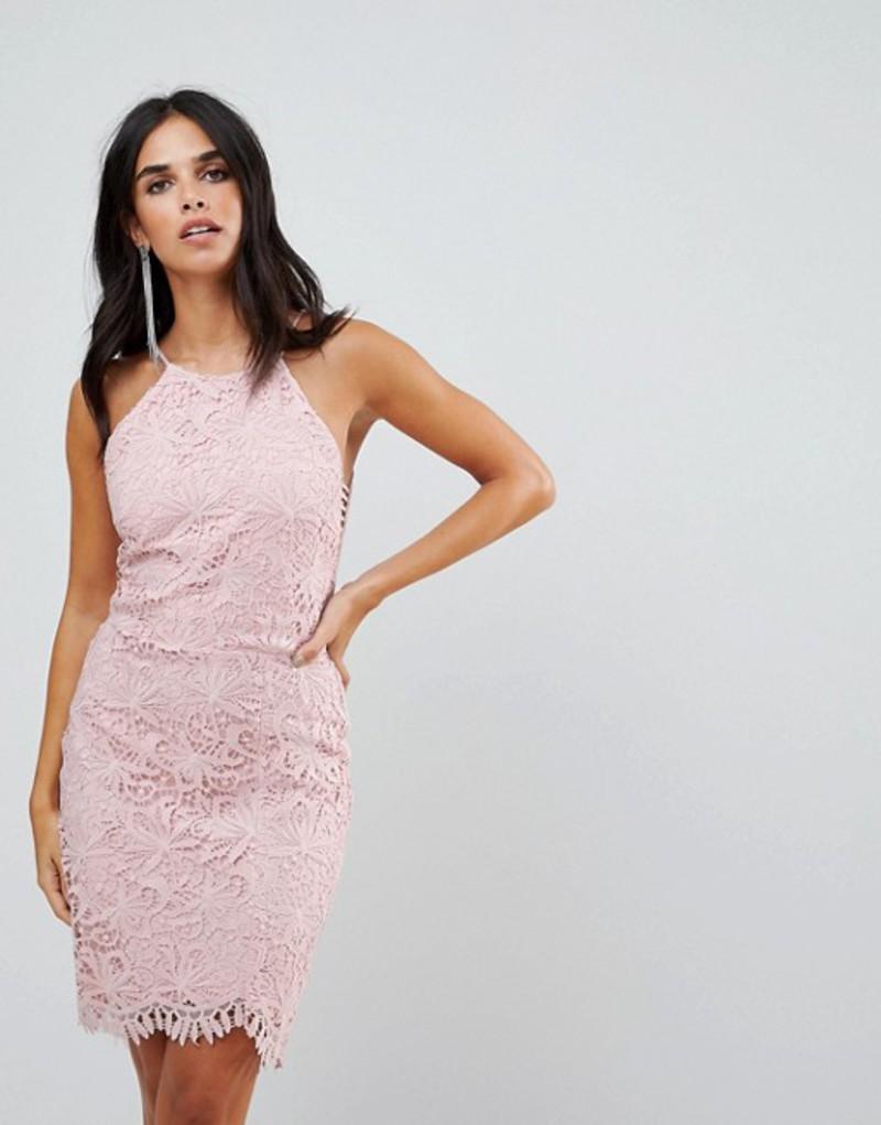 アドレイン ラエ レディース ワンピース トップス Adelyn Rae Louise Fishtail Sheath Lace Dress Pink sand